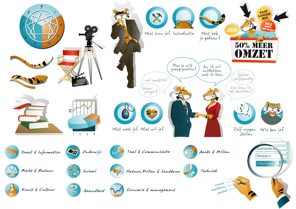 Carrièretijger illustraties en icons